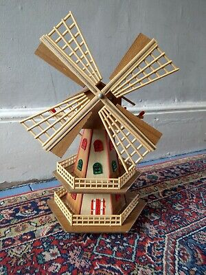 Vintage Retro Unique Kitsch Wind Up Large Wooden Musical Windmill