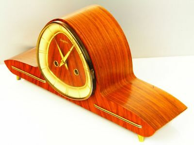 Later Art Deco Design Chiming Mantel Clock From Dugena  Hermle   50 ´s
