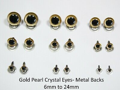 Gold Pearl Crystal Eyes with METAL BACKS -Teddy Bear Soft Toy Animal Safety