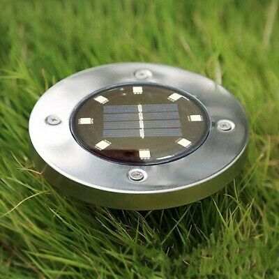 8 LED Solar Lamp Garden Lawn Light Decor Stainless Steel Bright Waterproof