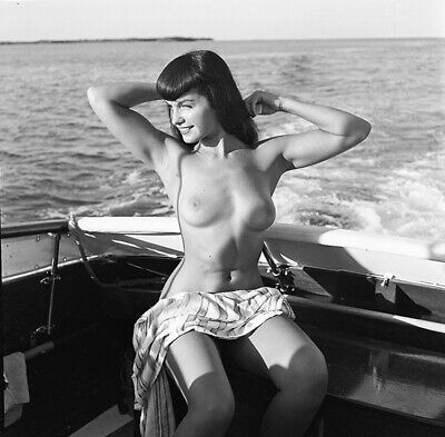 Bettie Page Original 1954 Camera Negative Bunny Yeager Figure Study Nude Boating