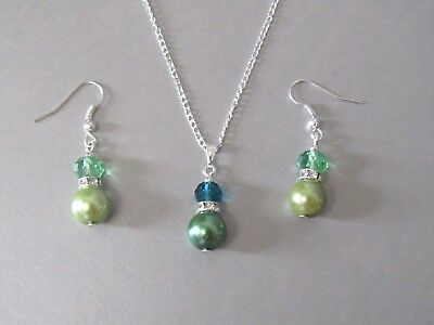 Green Pearl, Diamante & Crystal Necklace & Earrings Set, Wedding, Birthday Gift!