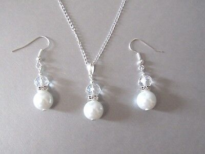 White Pearl, Diamante & Crystal Necklace & Earrings Set, Wedding, Birthday Gift!