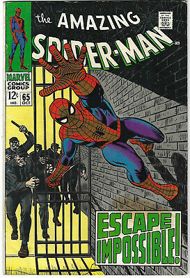 """Dated 1968. Early """"The AMAZING SPIDER-MAN"""" Marvel comic Vol.1 #65. VG+"""
