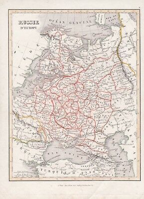 "1836 Antique Map - RUSSIA IN EUROPE - ""Russie D'Europe"" - Binet, Paris"