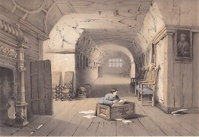 1872 Two Fine Lithographs - Knole House, Kent - Bed Chamber & Retainer's Gallery