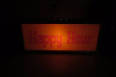 Lighted Happy Hour & Open For Business Bar Man Cave Advertising Working Sign