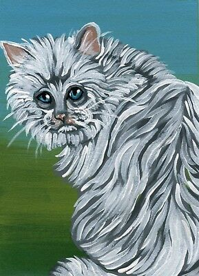 ACEO ATC Original Miniature Painting White Persian Kitty Cat Pet Art-Carla Smale