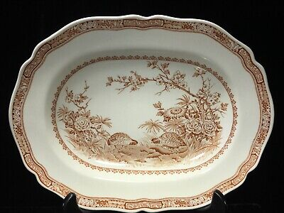 "Furnivals Brown Quail 1913 Serving Platter Tray Plate 13"" Antique English China"