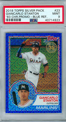 2018 Giancarlo Stanton Topps 1983 Silver Pack Blue Refractor Psa 9 Mint Pop 1!