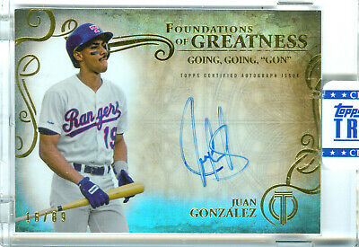 Juan Gonzalez 2015 Topps Tribute Foundations Of Greatness Auto 16/89! Free Ship!