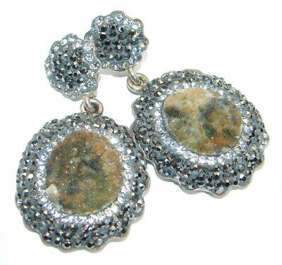 Jewelry & Watches A8961 Titanium Druzy 925 Sterling Silver Plated Stud Earrings 20mm Fashion Jewelry