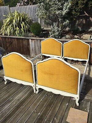 Pair Of Antique french Single Beds Refurbished Vintage Mustard Grey*courier*