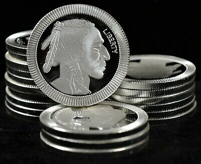 1oz Stackable Silver Bullion with Indian Head and Buffalo (b534f)