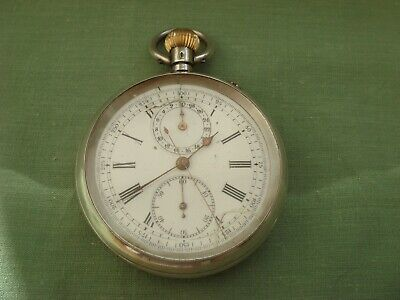 Solid Sterling Silver Hallmarked 935 Chronograph  Pocket Watch Signed 1880