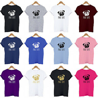 PUG LIFE, dog lover, funny, crazy dog lady, puppy, leed, collar T Shirt ALL AGES