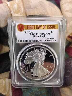 2017 W PROOF 1oz Silver Eagle PCGS PR70DCAM 1 of 1000 First Day Of Issue Label