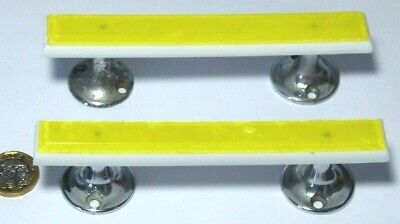 ONE PAIR VINTAGE WHITE & PEARL YELLOW LUCITE & CHROME PULL HANDLES 1950s