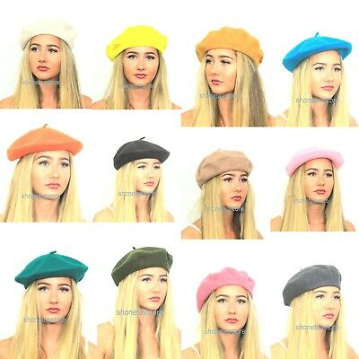 100% Pure New Wool Quality & Cheap Wool Blend Beret Plain Colours Ladies Womens