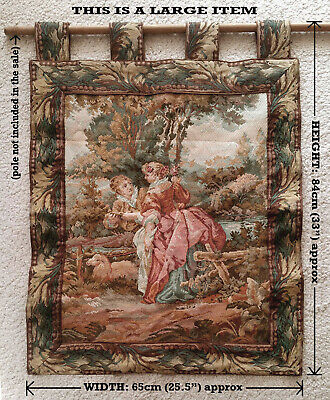 Vintage French Tapestry Large Wall Hanging – Pastoral Scene With Lovers & Sheep