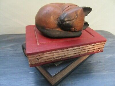 Vintage Wooden Hand-Carved Cat Sleeping Kitten on Books
