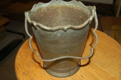 Vtg Ornate Solid Bronze Bucket Hand Wrought/Forged Handle Smelting Pot, Kettle