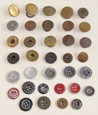 Lot of 35 Antique & Vintage Overall Work Clothes Metal Buttons