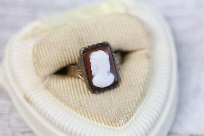 Victorian 1890's  14K Gold Cameo Shell Ring Lady Gorgeous Luxury (6) N5723