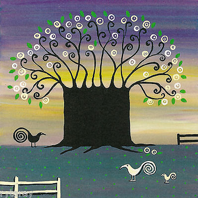 8x8 PRINT OF PAINTING ABSTRACT FOLK ART RYTA TREE RAVEN CROW WHIMSICAL LANDSCAPE