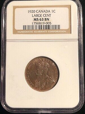 1920 Canada Large Cent NGC MS 63 BN Brown One Cent Coin Rare
