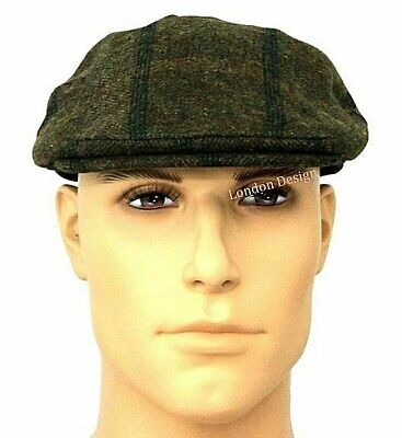 Mens Flat Cap Olive Green Overcheck Herringbone Tweed QUALITY Hat 80% Wool New