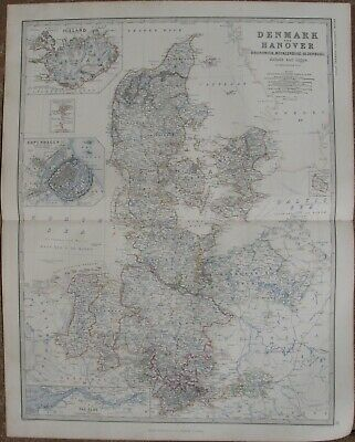 1861 Large Antique A.K.Johnston Map - DENMARK & ICELAND - Copenhagen Inset Map