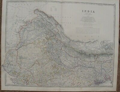 1861 Large Antique A.K.Johnston Map - NORTHERN INDIA - Kolkata to Nagar Valley