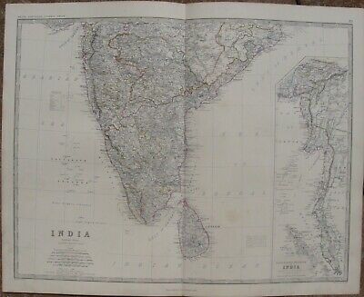 1861 Large Antique A.K.Johnston Map - SOUTHERN INDIA & MALAYAN PENINSULA