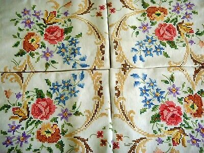 Vintage Hand Embroidered Linen Tablecloth Stunning Rose Garden Lace Cross Stitch