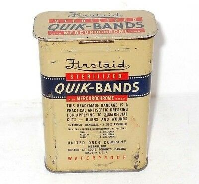Vintage Rexall Firstaid Quik-Bands Bandage Tin Can