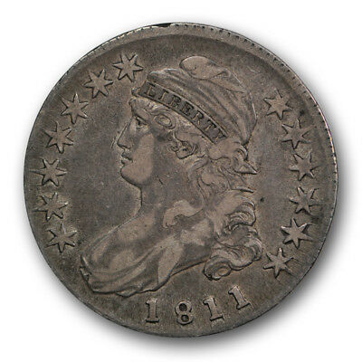 1811 50C Small 8 Capped Bust Half Dollar Extra Fine XF Original US Coin R1665