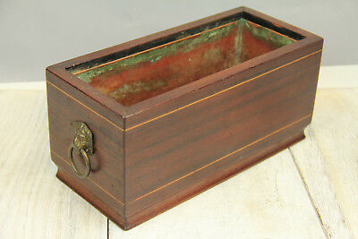 Vintage French Mahogany Planter Lion Pulls Copper Lined Herb Garden Inlaid Decor