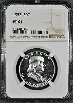 1952 50C Proof Franklin Half Dollar, Certified By Ngc Pf62,  Cg24