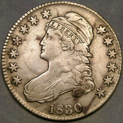 1830 Capped Bust Lettered Edge Silver Half Dollar Appealing Circulated Medium 0