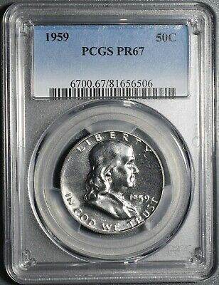 1959 50C Proof Franklin Half Dollar, Certified By Pcgs Pr67,  Cg32