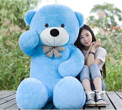 "GIANT 63"" TEDDY BEAR ""blue""HUGE SOFT STUFFED BIG PLUSH  bears Xmas gift 160cm"