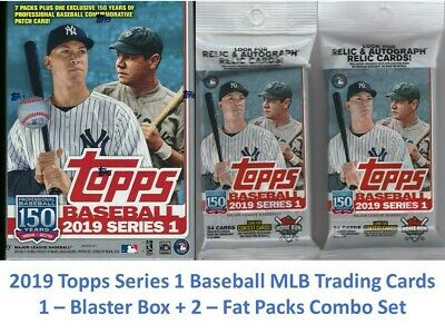 2019 Topps Baseball Series 1 MLB Trading Cards 1-Relic Box+2-Fat Pack Combo Set