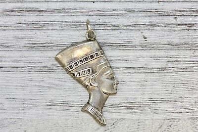 Antique Egyptian Pharaoh 925 Sterling Silver  Pendant Puffed Detailed N3717