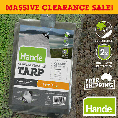 HANDE Heavy Duty Tarp, Waterproof Camping Tent Canopy Clamp Cover Poly Canvas