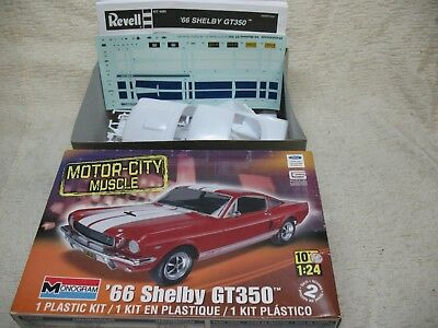 1/24 Scale 1966 Shelby Gt350 Mustang Monogram White Model Kit-Mib