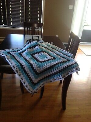 NEW HANDMADE TOURQUISE, WHITE and BROWN baby blanket