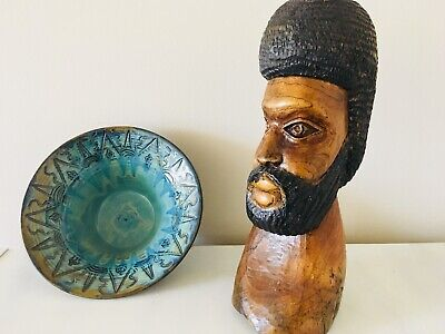 Jamaican Wood Carved Bearded Figurine. Hand Carved Art From 1980s'