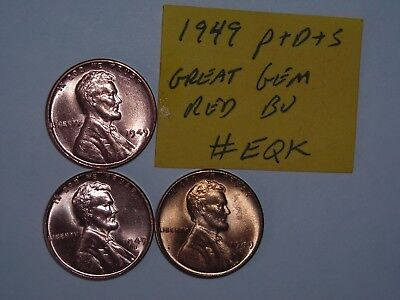 wheat penny 1949 P & S & D SET GEM RED BU 1949-D,1949-S LOT RED UNC LINCOLN CENT