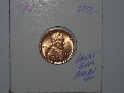 wheat penny 1925 GEM RED BU 1925-P LOT #2 LINCOLN CENT SHARP RED UNC LUSTER